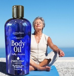 Yoga on beach barefoot with Daily body oil_B