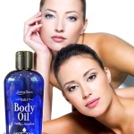 two models  with Daily body oil