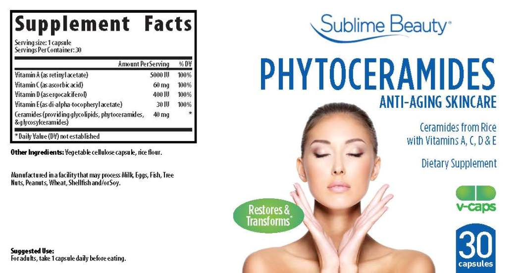 Sublime Beauty Phytoceramide label for Amazon Page