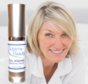 stem cell serum and older model for Sublime Beauty