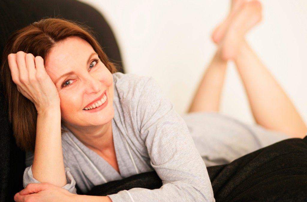 merge relaxed older woman smiling